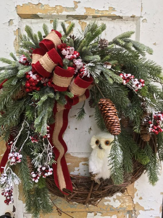 christmas wreath holiday wreath owl wreath etsy wreath christmas gift this warm and inviting christmas wreath is filled with beautiful quality greens - Christmas Wreaths Etsy