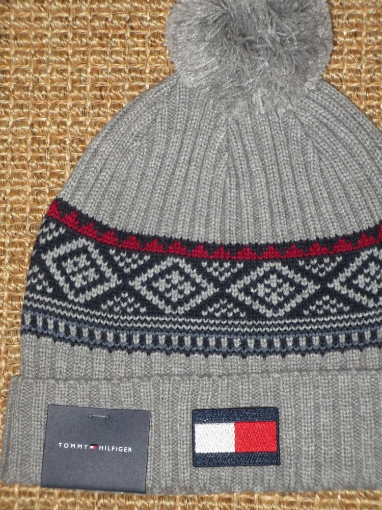 1716311f72ec28 TOMMY HILFIGER BEANIE CAP BIG FLAG LOGO MEN'S KNITTED WINTER HAT GRAY NEW # TommyHilfiger #Beanie