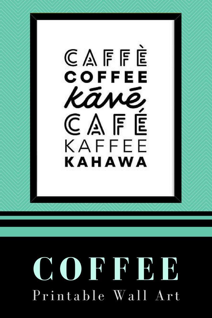 Coffee language art print kitchen decor black and white