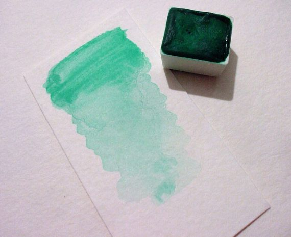 Verdigris Green Hue Handmade Watercolor Paint Art Gift Handmade