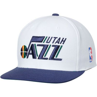 aec359b11253b Utah Jazz Mitchell   Ness Current XL Logo 2 Tone Adjustable Hat - White