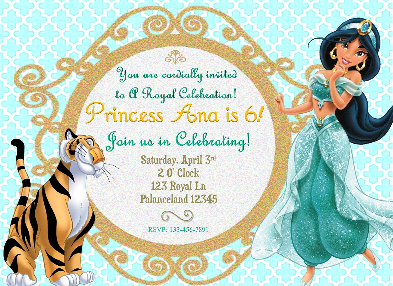 Disneys Jasmine Birthday Invitation By SGInvitations On Etsy