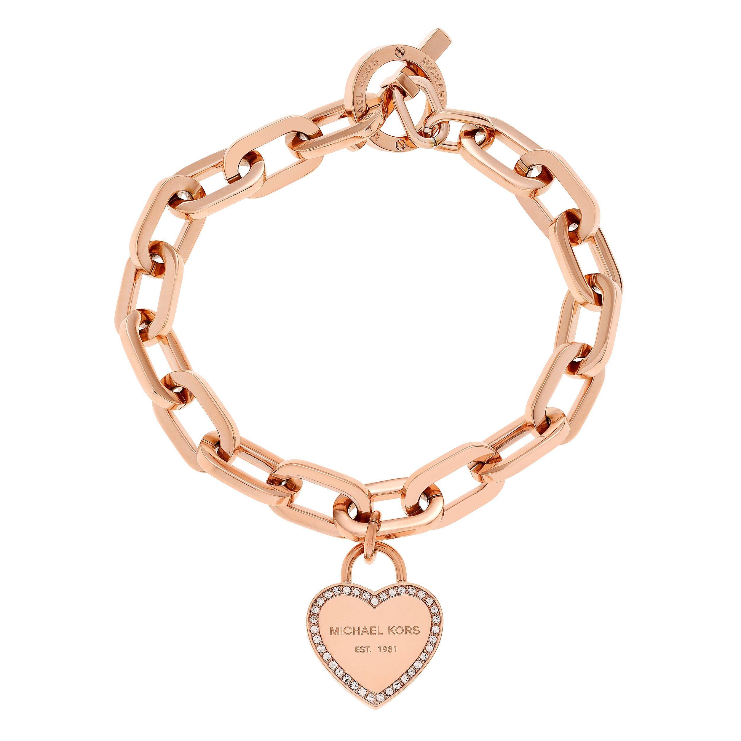4b892d9c6242 Michael Kors Rose Goldtone Stainless Steel Crystal Pave Logo Heart Charm  Toggle Bracelet (Rose Gold)