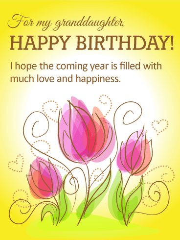 Tulip Happy Birthday Card for Granddaughter A gorgeous birthday