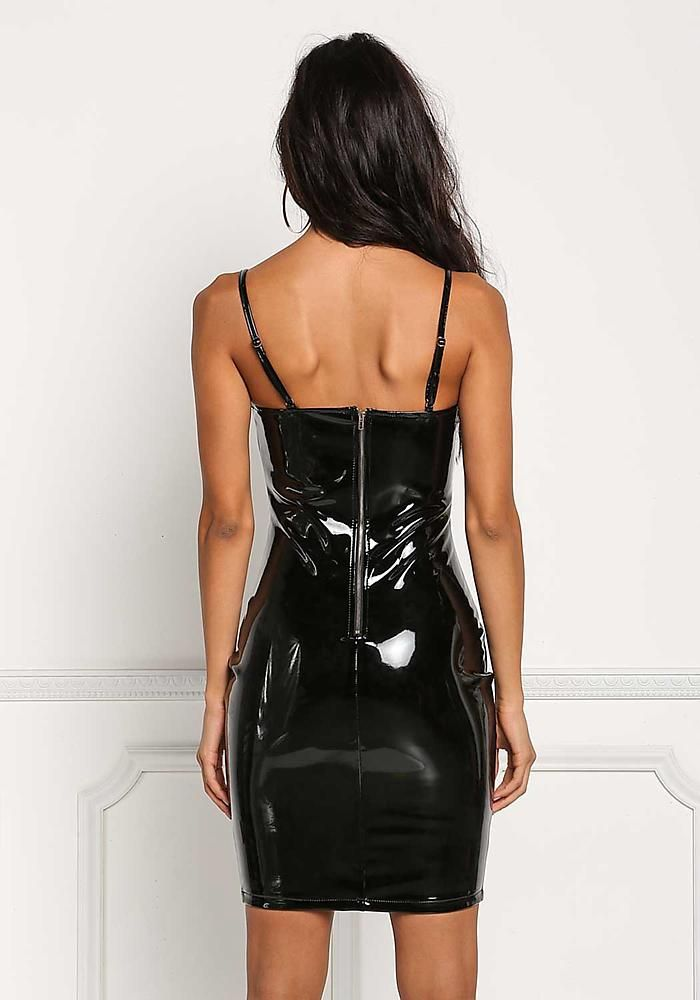 Junior Clothing Black Latex Bustier Plunge Bodycon Dress