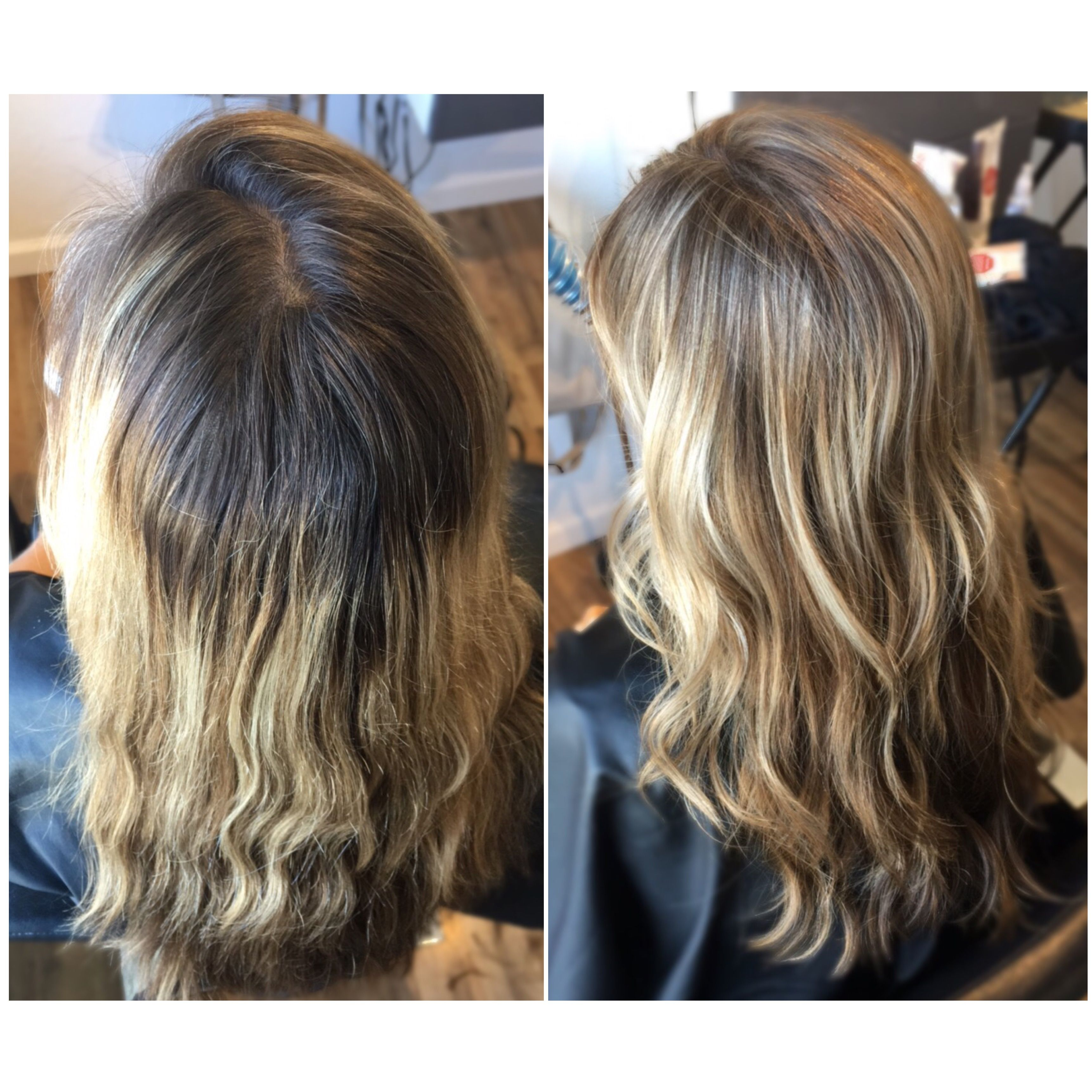 Before And After Babylights And Highlights Short Hair Balayage Hair Color Dark Blonde Hair Images