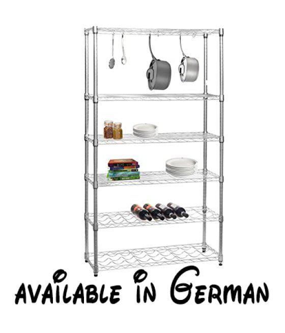 B008CICBFO : Chrom Küche Regal mit 4Ablagen 2Weinregalen und 6S ...