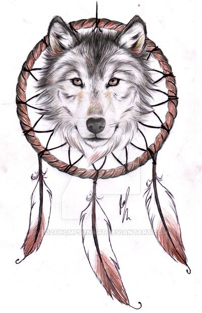Wolf Dreamcatcher Ii Tattoo Design By Rozthompsonart Deviantart