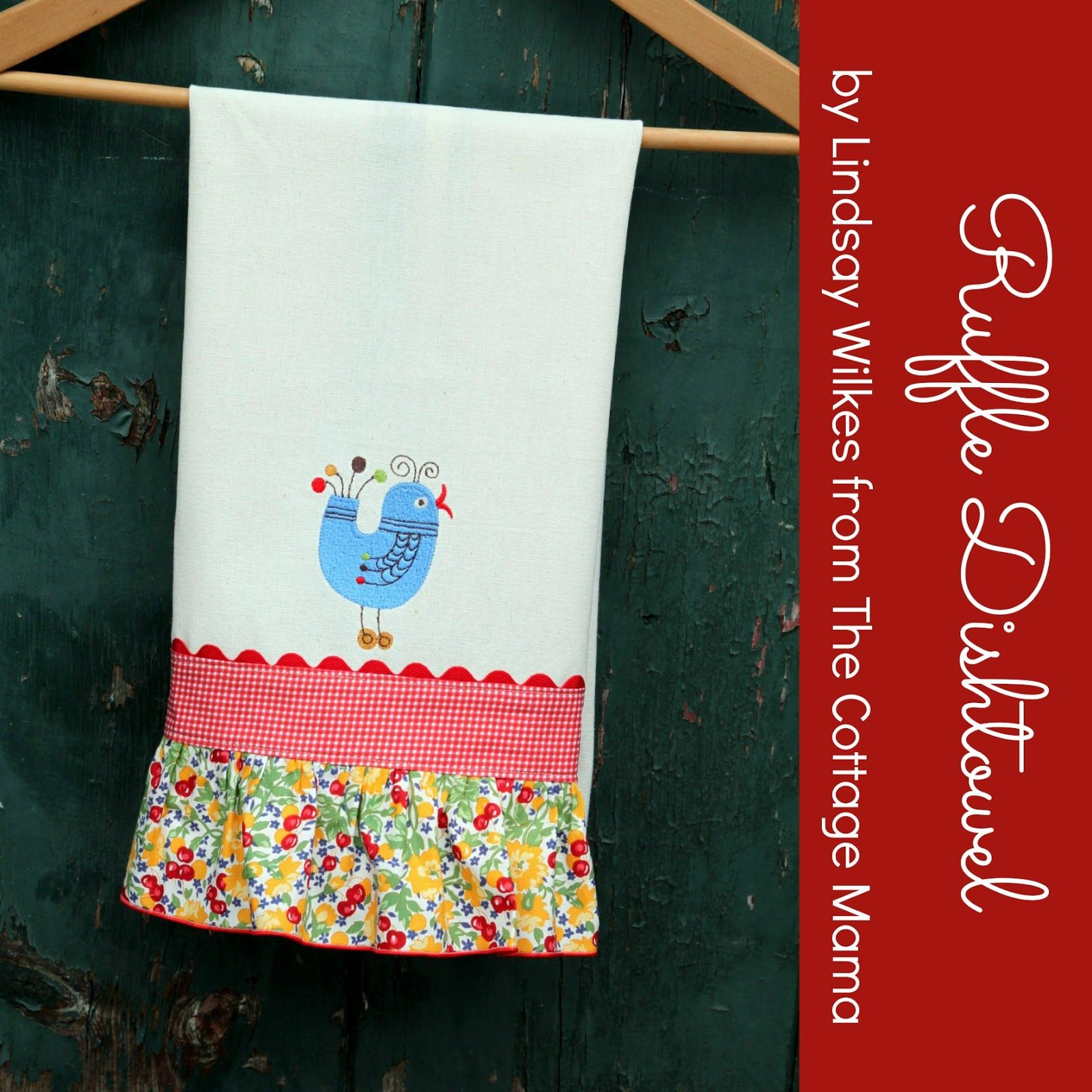 Easy Ruffle Dishtowel Tutorial from The Cottage Mama for Baby Lock