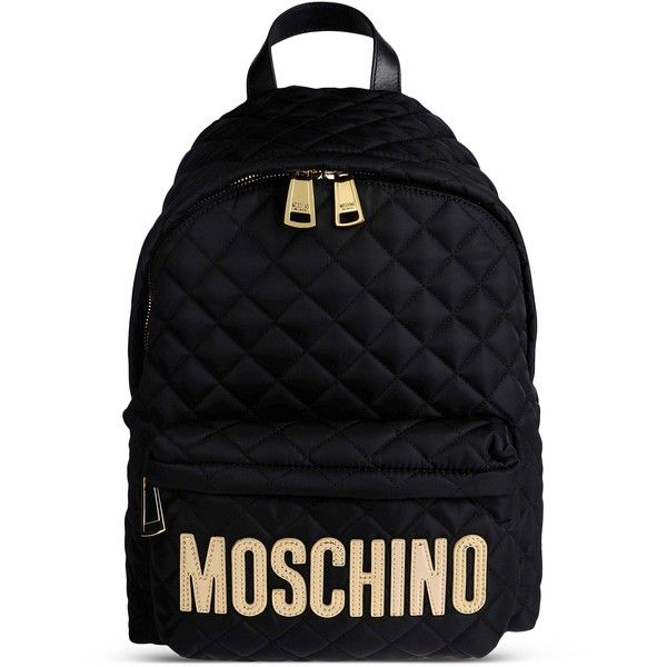 Moschino Rucksack (€400) ❤ liked on Polyvore featuring bags, backpacks, backpack, gold, moschino, knapsack bag, logo backpacks, day pack backpack and moschino bags