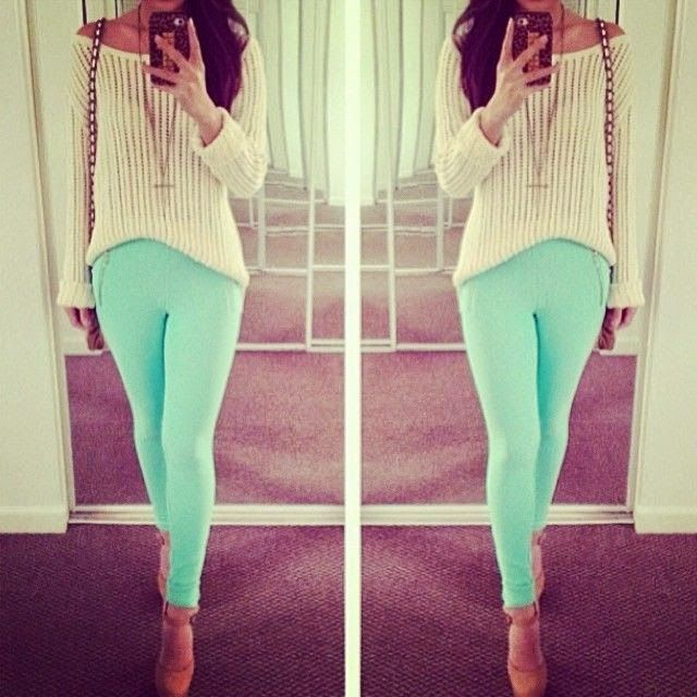 ♥♥ mint pants summer look spring outfits Teen fashion Cute Dress ...