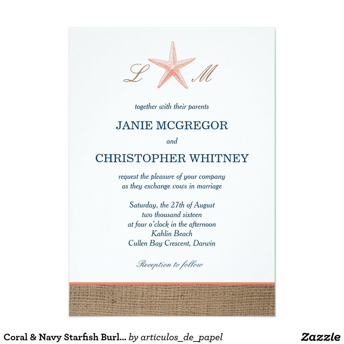 Starfish Wedding Invitations Beach Wedding Invitation With Twine