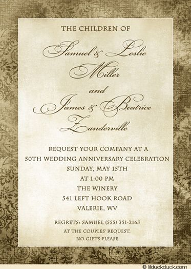 Double 50th Anniversary Formal Invitation | 50th wedding ...