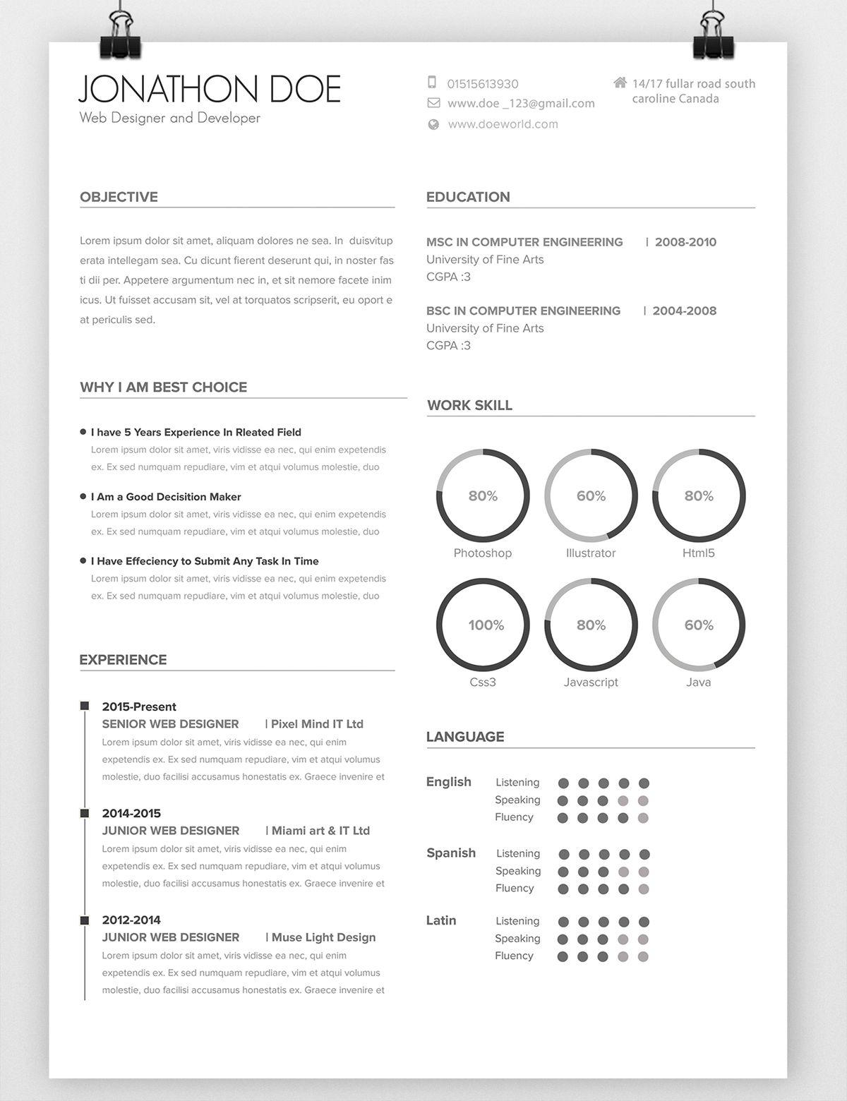 Avada Minimal Resume on Behance | Creative Resume | Pinterest ...