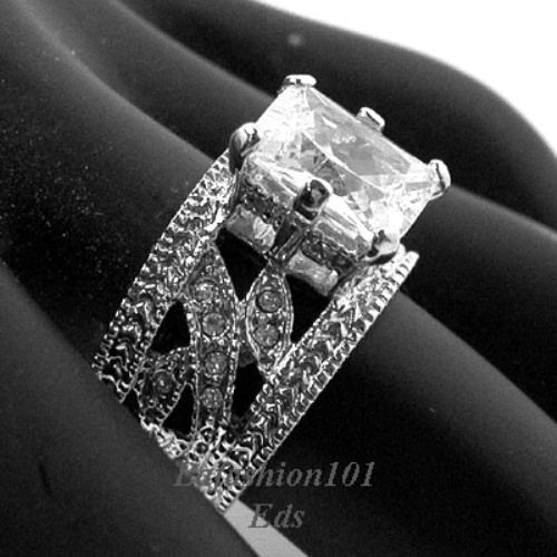 engagement rings with thick bands Emerald Cut Rhodium Plated