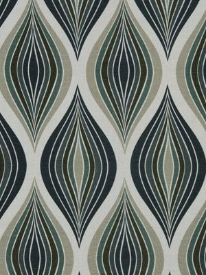 Teal Abstract Fabric Modern Ogee Upholstery Yardage Linen - Designer upholstery fabric teal
