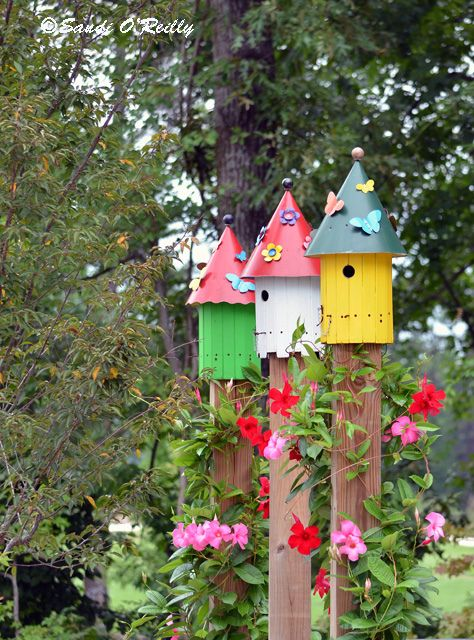 Birdhouses At Children S Garden Colorful Garden Sensory Garden Bird Houses 640 x 480