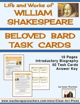 Shakespeare's Life and Works Task Cards (50 Cards ...