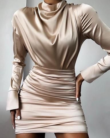 High Neck Ruched Satin Dress 3