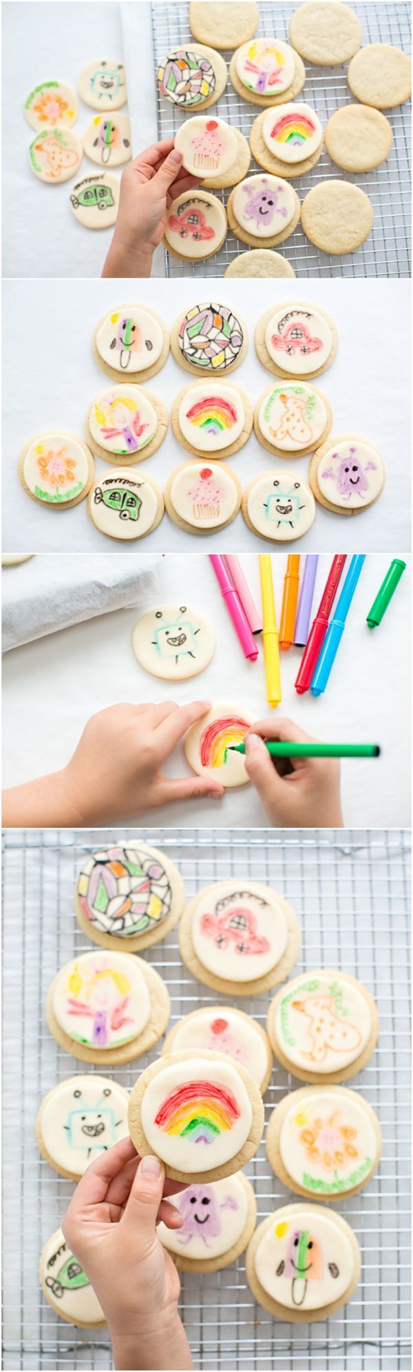 Show off your kids art on fondant cookies! These would be fun to set out for a birthday party for kids to decorate and take home as favors!