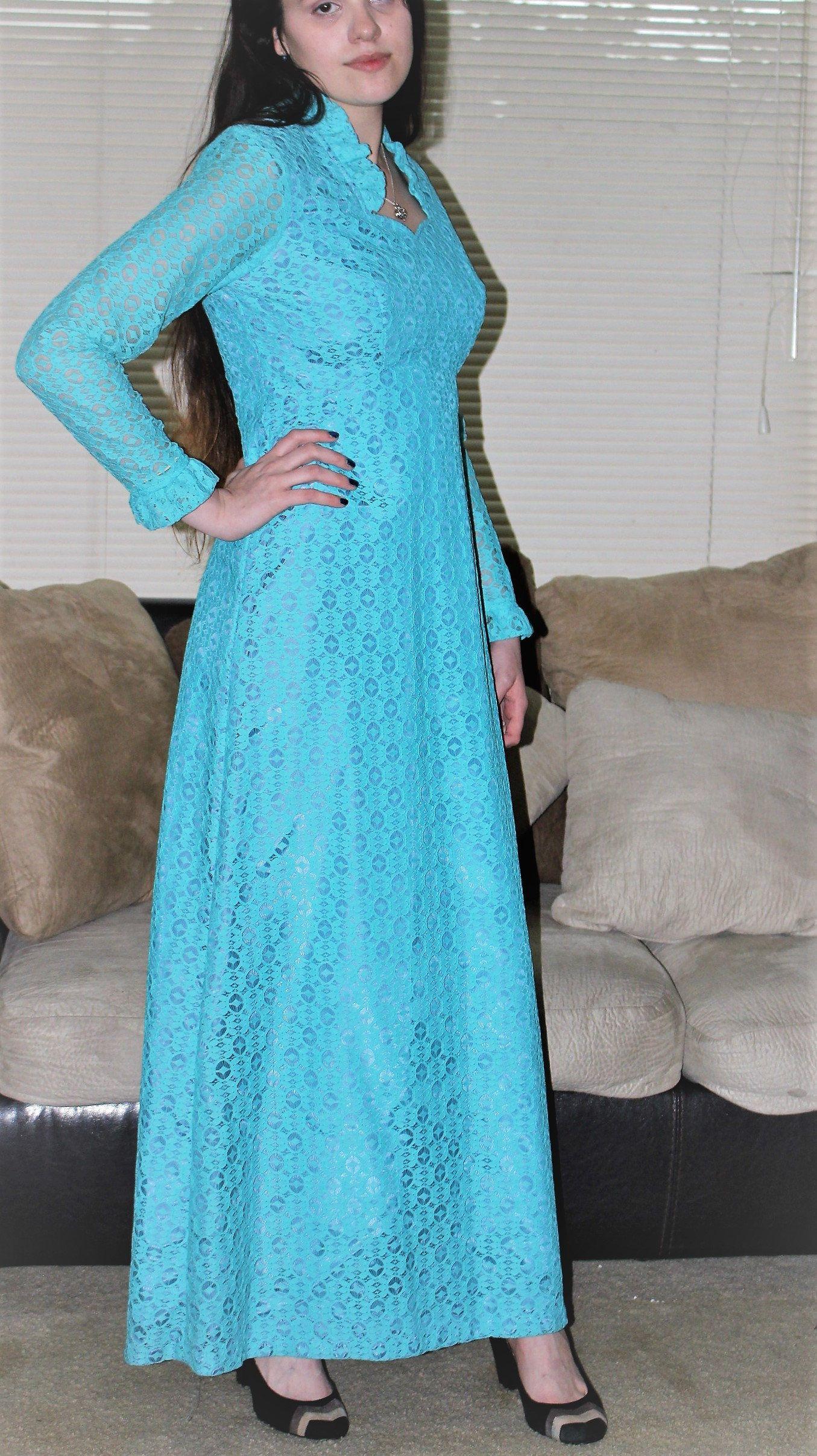 Vtg 70\'s Edwardian Lace Gunne Sax Style All Lace Maxi Dress.Blue All ...