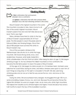 Climbing Blindly (Identifying Fact or Opinion): Grade 4 Reading ...