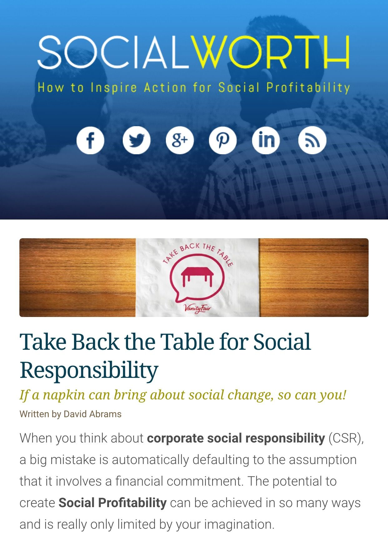 Take Back the Table for Social Responsibility -- If a napkin can bring about social change, so can you! -- Written by David Abrams