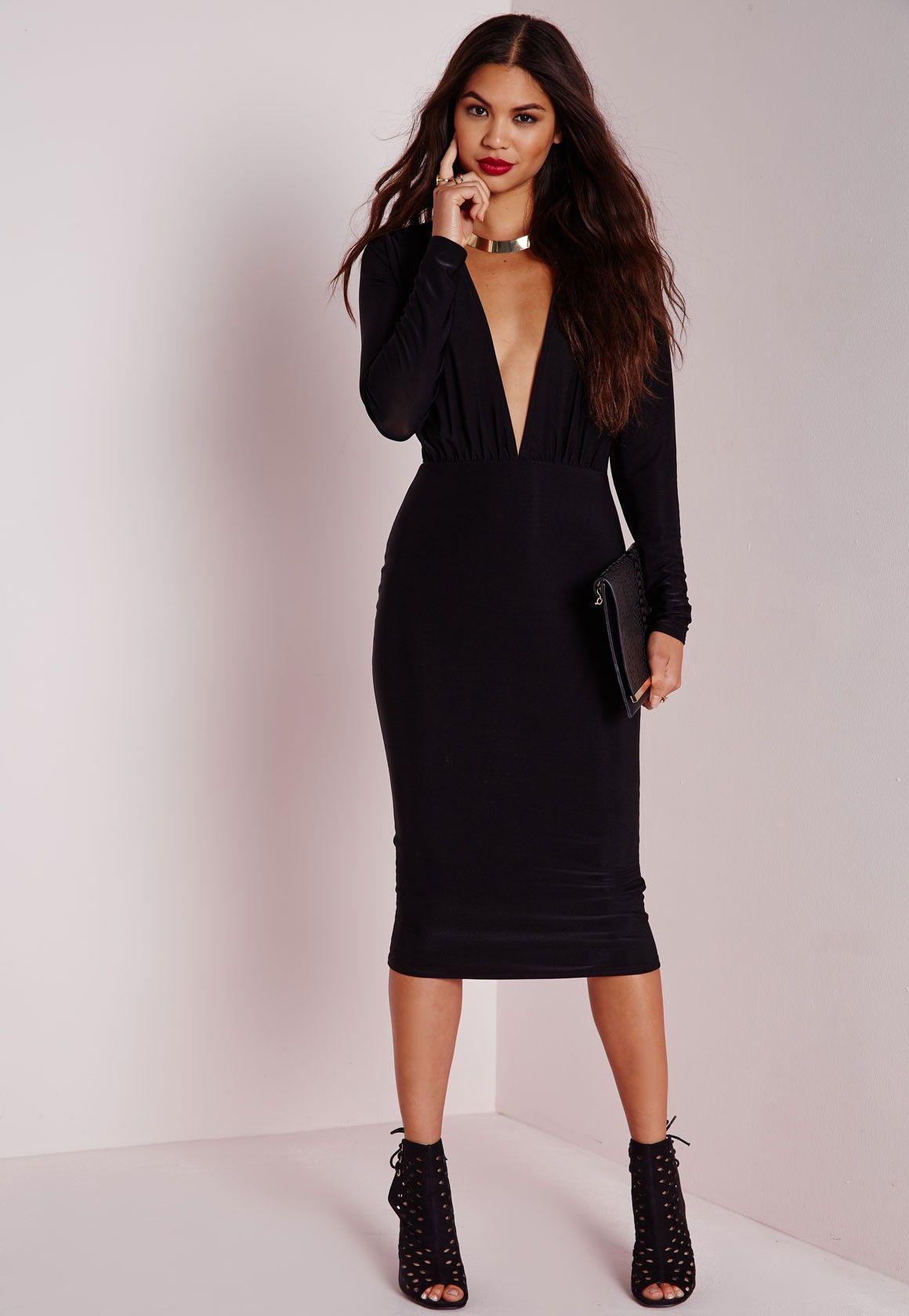 Missguided - Long Sleeve Plunge Midi Dress Black  4b4a34ec0
