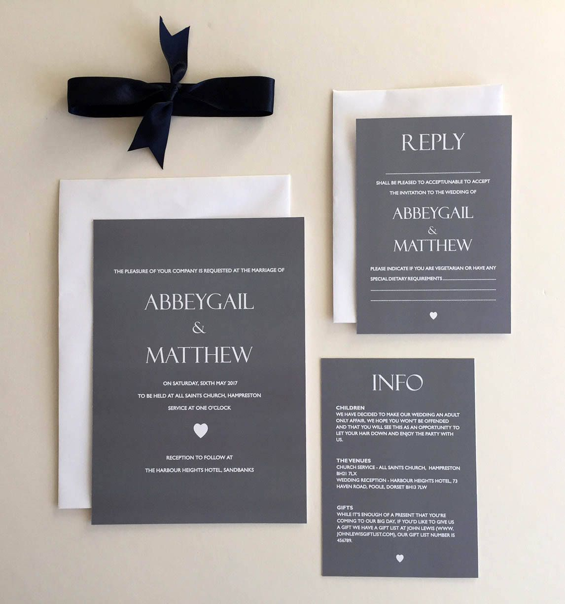 Slate Grey And White Heart Print Wedding Invitation Bundle Info