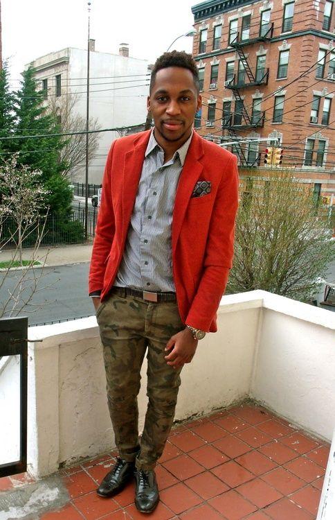 Camo pants + Red blazer (via MenStyle1)
