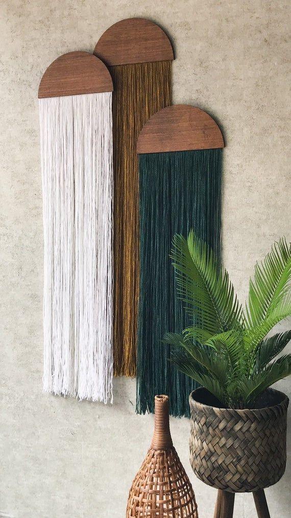 Photo of casita,wall hanging,fiber art,mid century modern art,tapestry,wall art,home decor,yarn wall hanging,