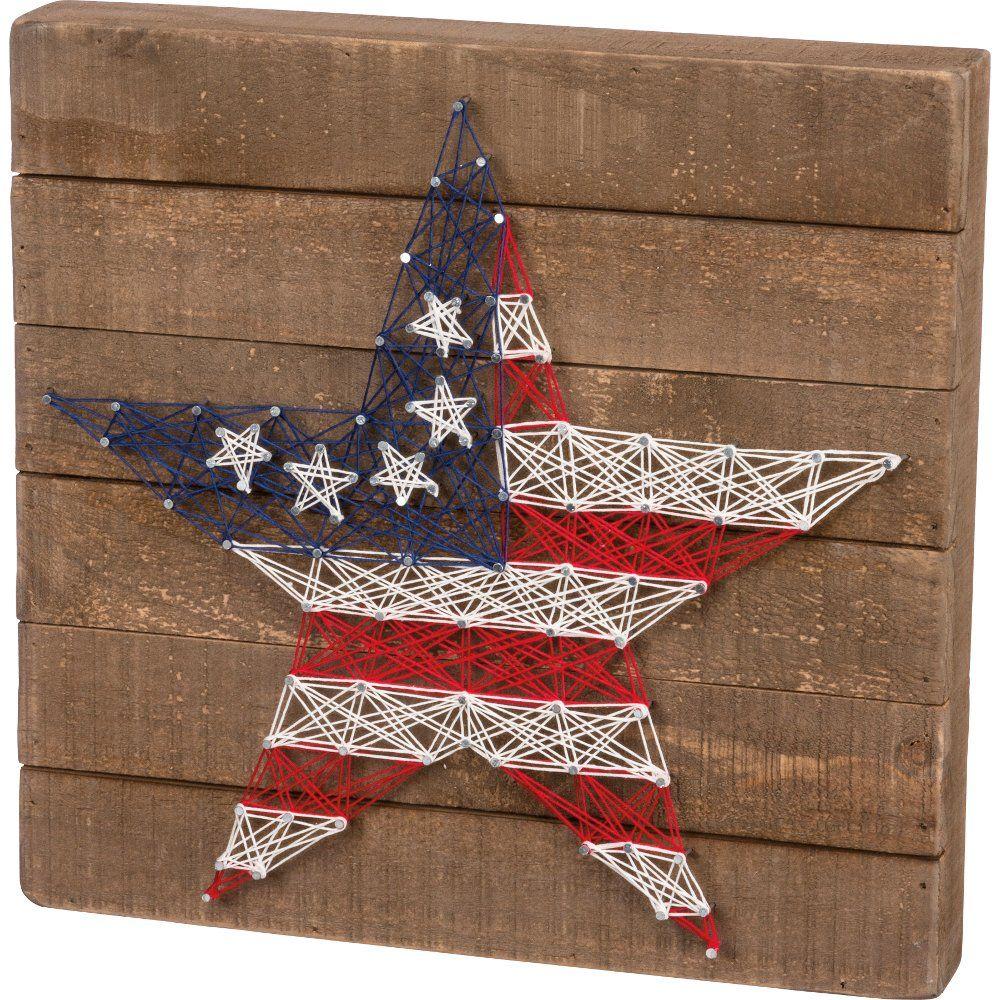 Stars and Stripes String Art Slat Wood Box Sign #stringart