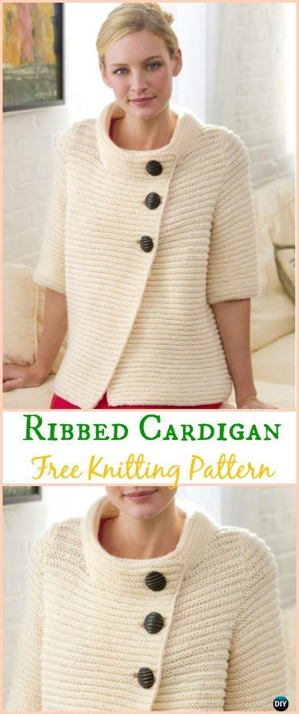 Womens Knit Ribbed Cardigan Sweater Free Knitting Pattern Knit