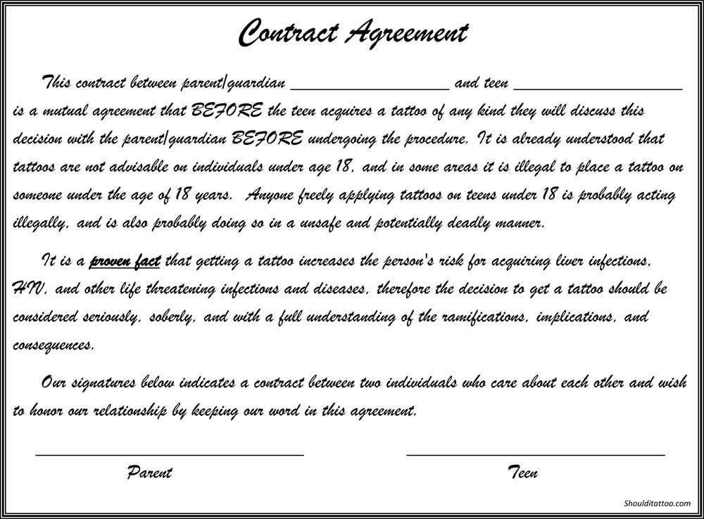 Tattoo Contract  Tattoo Contract    Parents And Tattoo