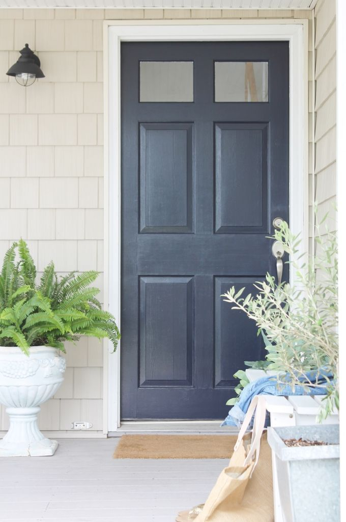 Front Door Makeover Sherwin Williams Anchors Aweigh