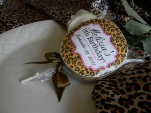 Leopard Cookie Pops personalized on front and back!