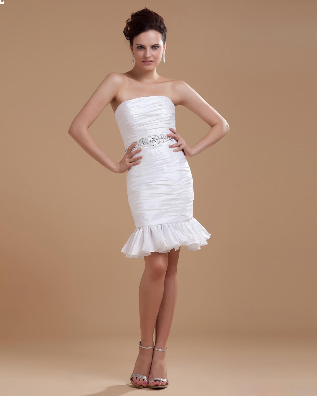 Taffeta Ruffled Short Bridal Gown Wedding Dress In 2019
