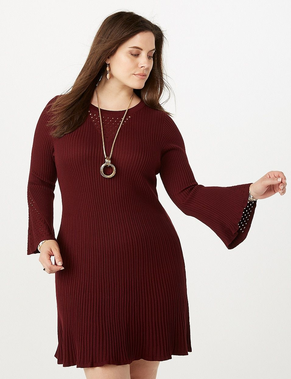 ba96a9ae7fb8 Plus Size Fit-and-Flare Bell Sleeve Sweater Dress | dressbarn ...