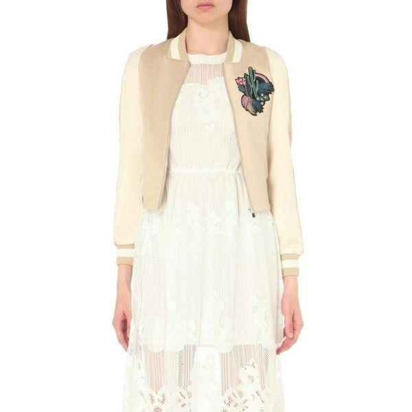 Maje Bacary satin varsity jacket (£205) ❤ liked on Polyvore featuring outerwear, jackets, beige, white varsity jacket, satin sports jackets, sport jacket, patch jacket and white jacket