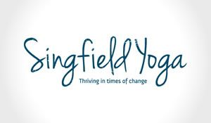 Distressed and curvy logo and brand design for Singfield Yoga