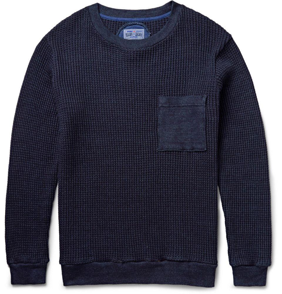Blue Blue Japan - Waffle-Knit Cotton Sweater | MR PORTER ...