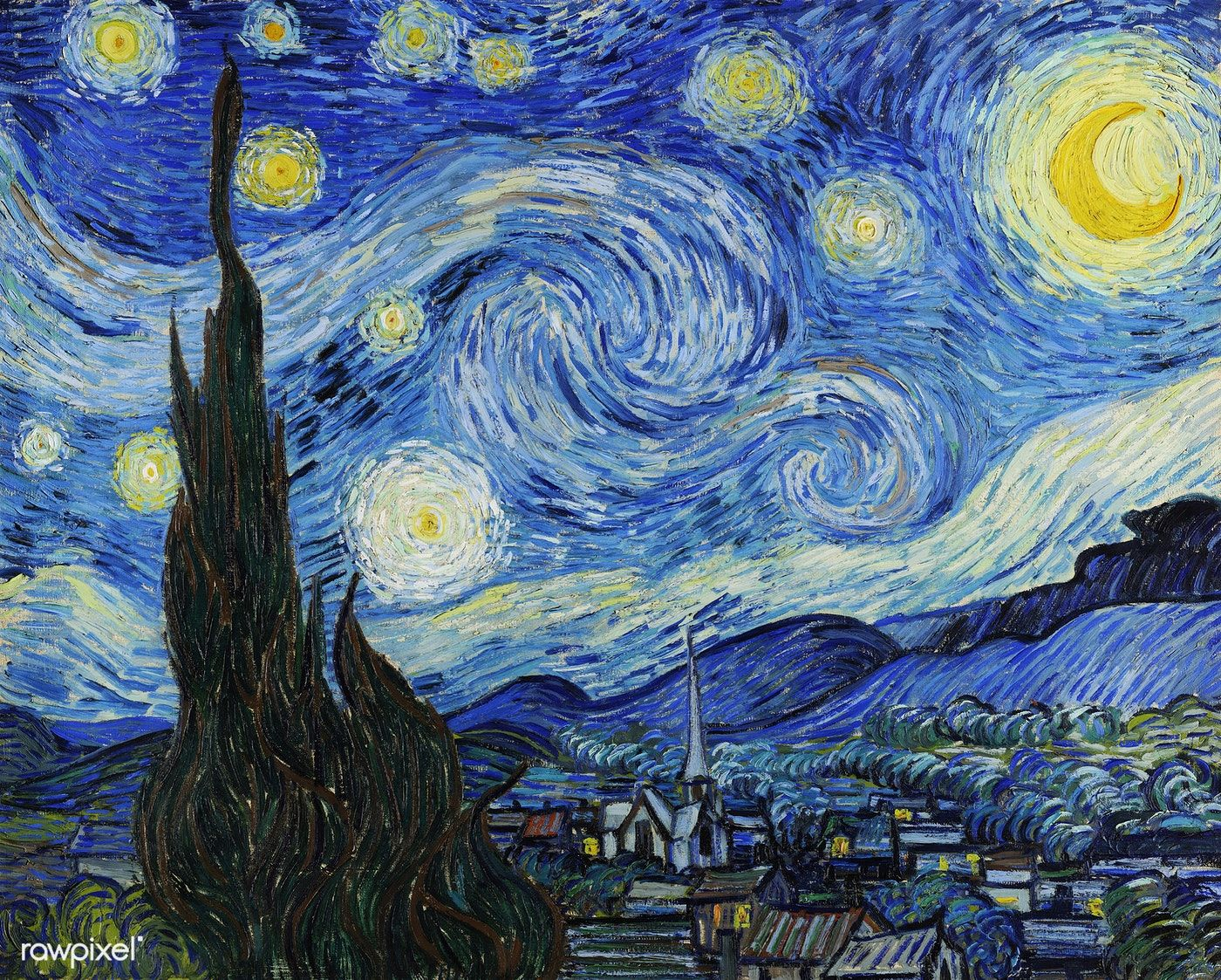 The Starry Night 1889 By Vincent Van Gogh Original From