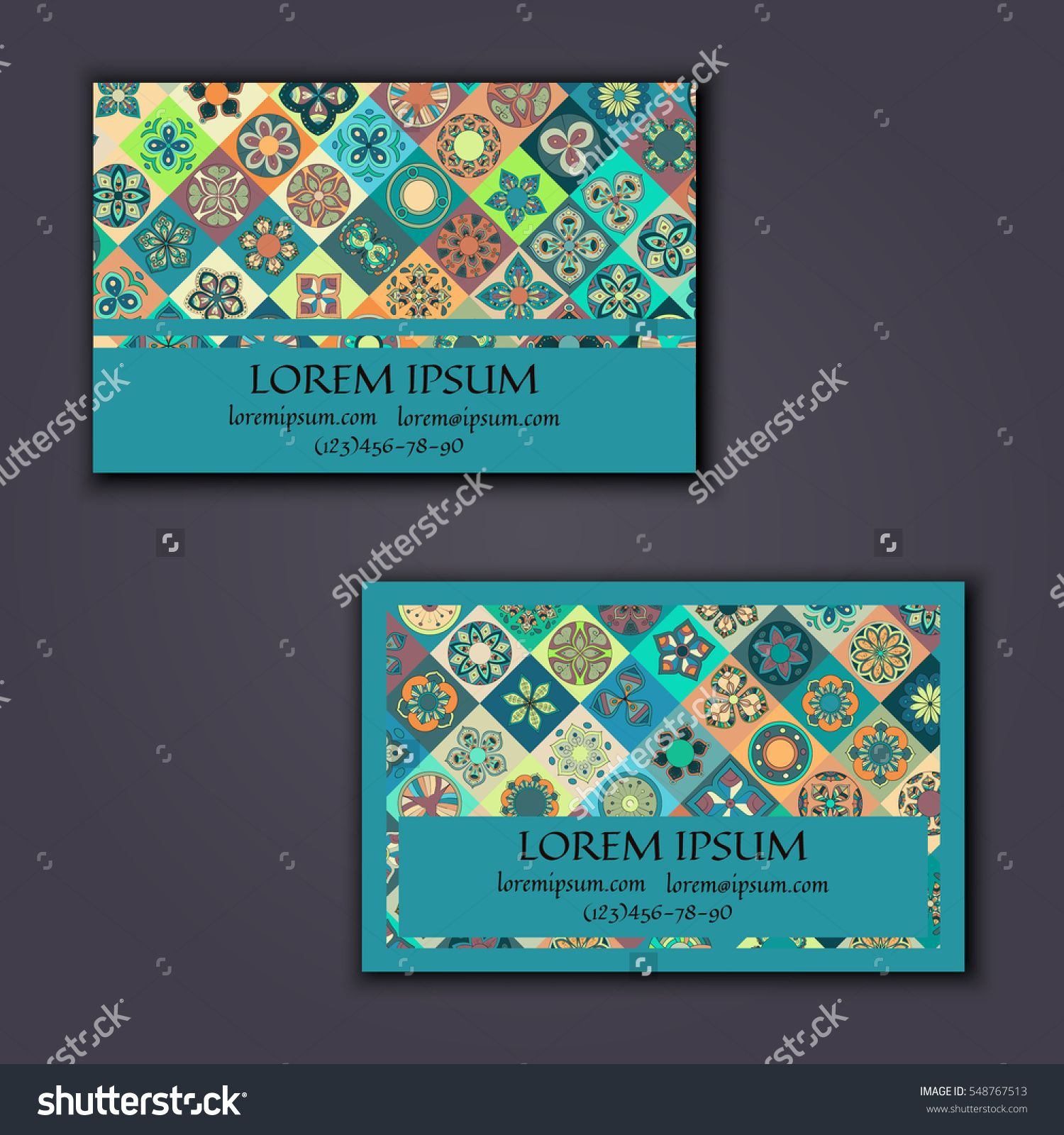 Vector Business Card Design Template With Ornamental Geometric