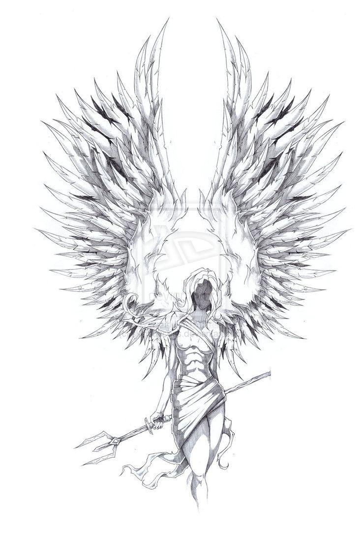 archangel tattoo design on paper