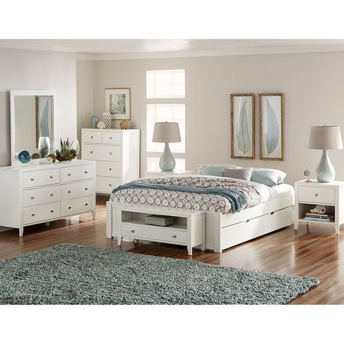 Pulse White King Platform Bed with Trundle