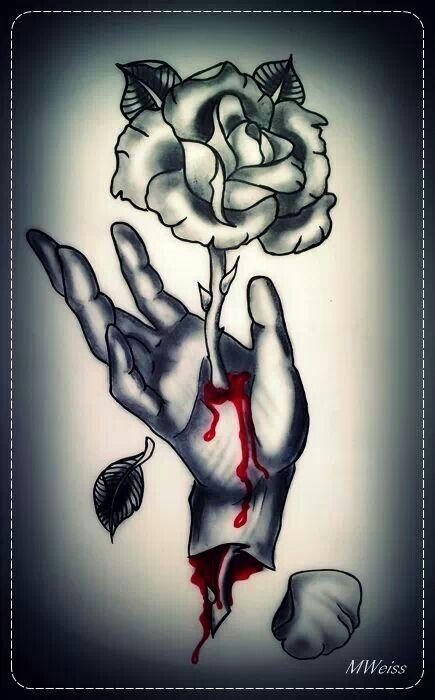 Old Skull Love Rose Hand Tattoo Traditional Hand Tattoo Flash Tattoo