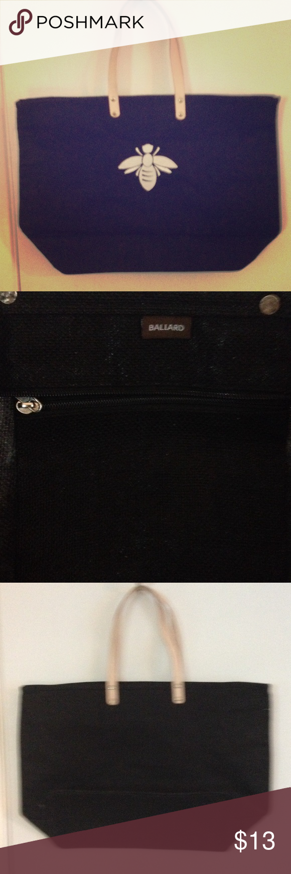 ballard design black french bee jute tote bag.nwt! nwt | pinterest
