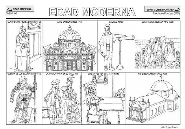 Fichas de la Edad Moderna. | Colorear | Historia Moderna, Edad