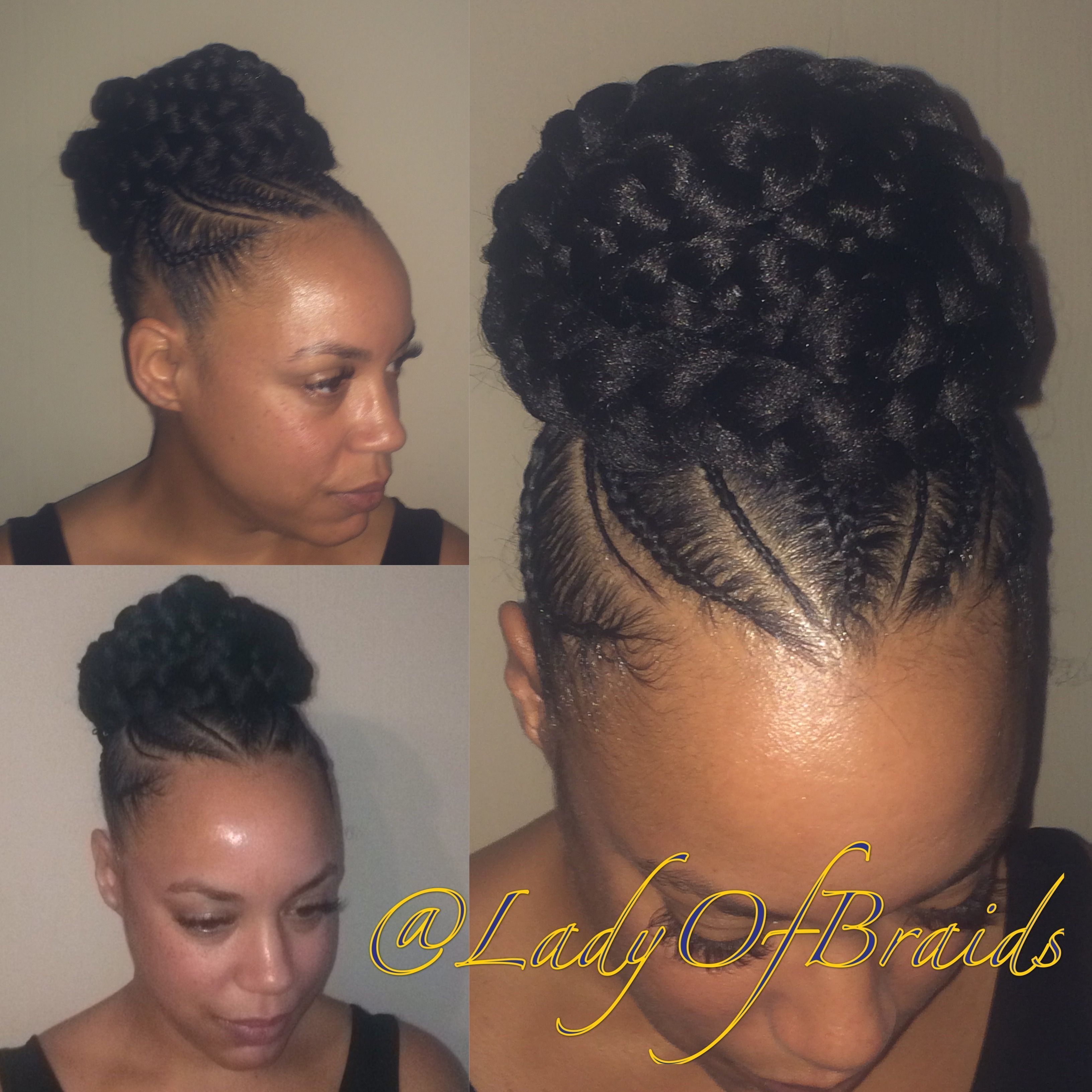 Love This Cute Goddess Braids Into A Bun Protective Hairstyle On Natural Hair With Braided Cornro Natural Hair Styles Cornrow Updo Hairstyles Cornrow Ponytail