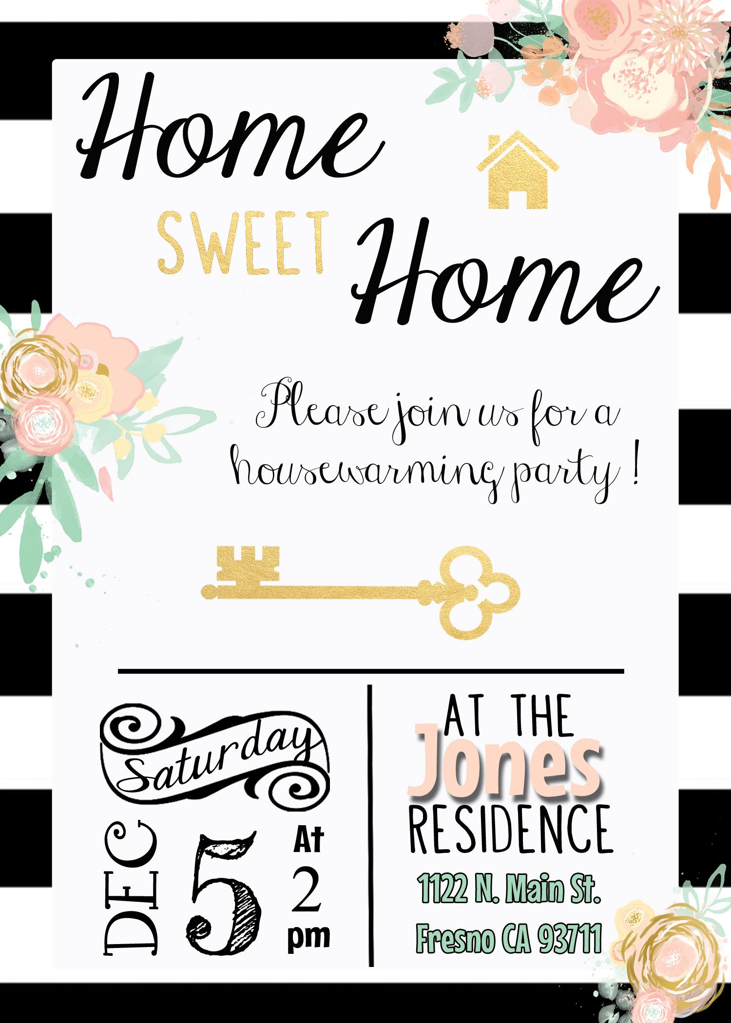 Black white gold housewarming invitation invite stripes for Housewarming party activities